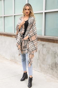 Panache Plaid Pocket Kimono Scarf - Alternate List Image
