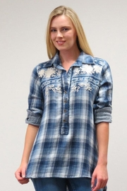 Caite Plaid Popover Top - Product Mini Image