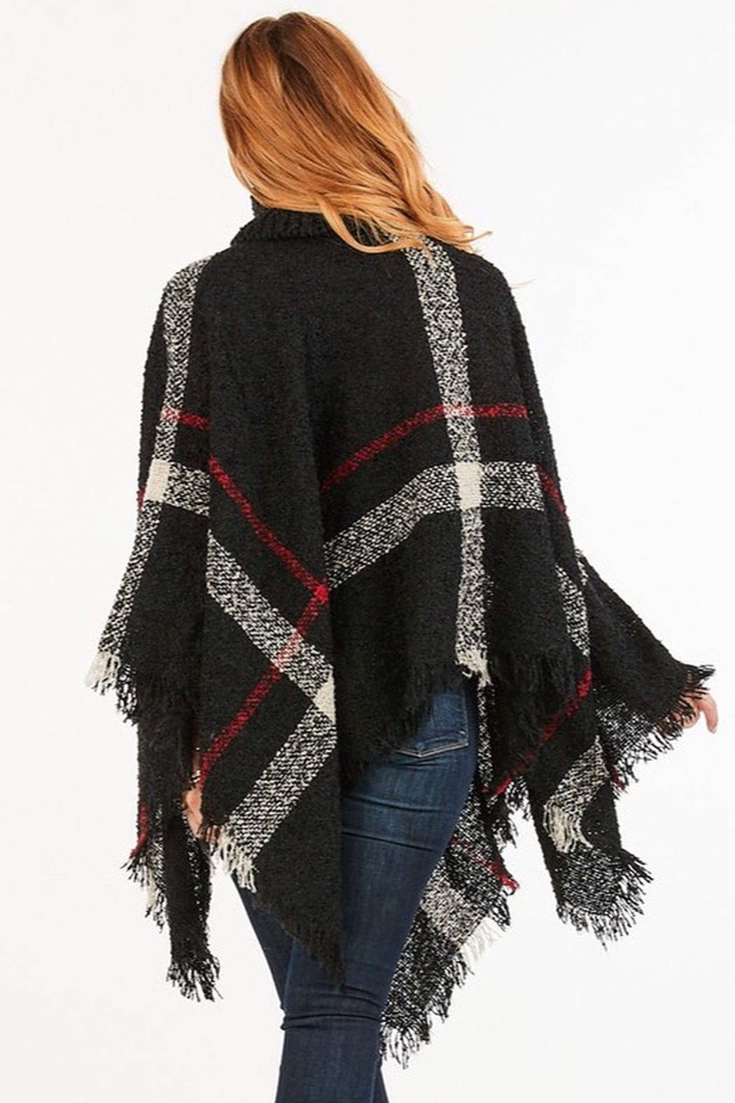 saints and hearts Plaid Print Poncho - Front Full Image