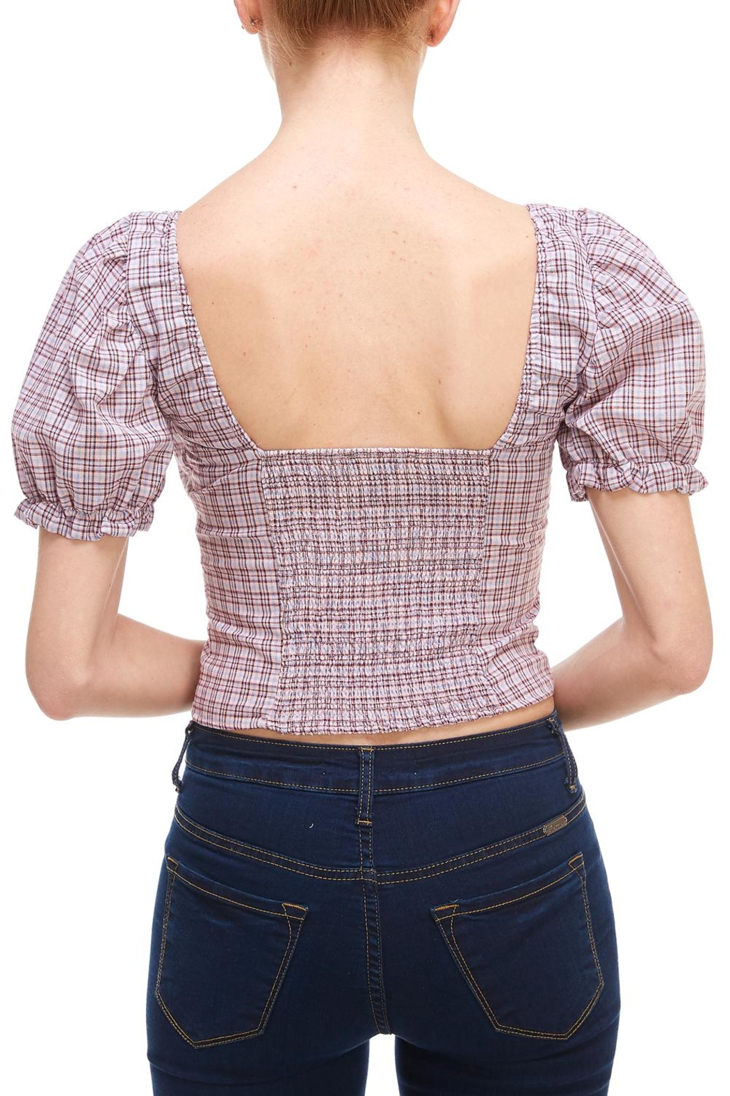 Sans Souci Plaid Puff Sleeve - Side Cropped Image