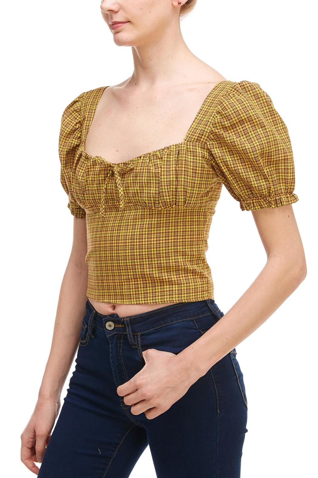 Sans Souci Plaid Puff Sleeve - Front Full Image