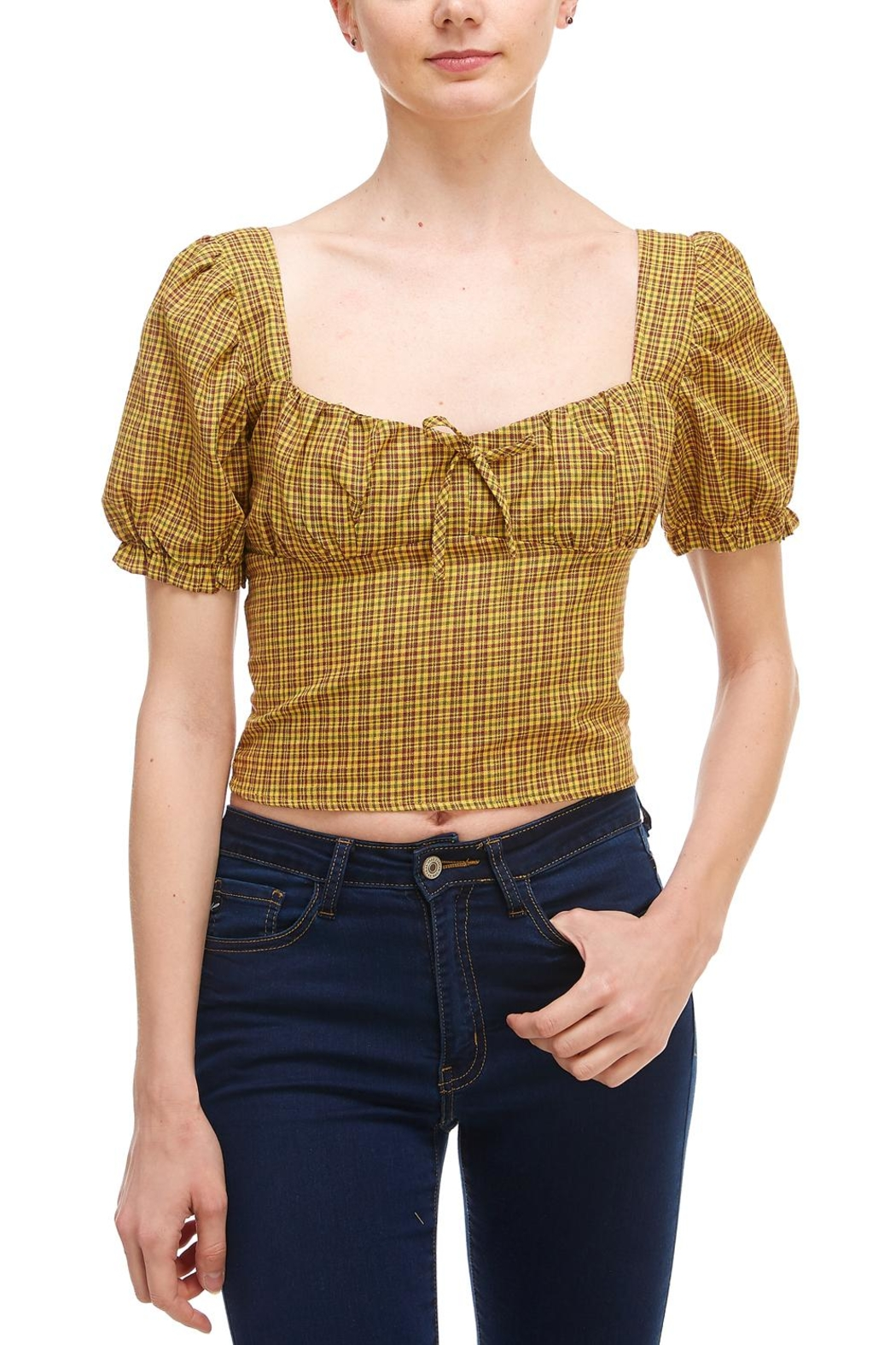 Sans Souci Plaid Puff Sleeve - Front Cropped Image