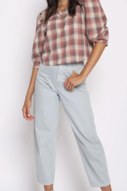 San Souci Plaid Puff Top - Front cropped
