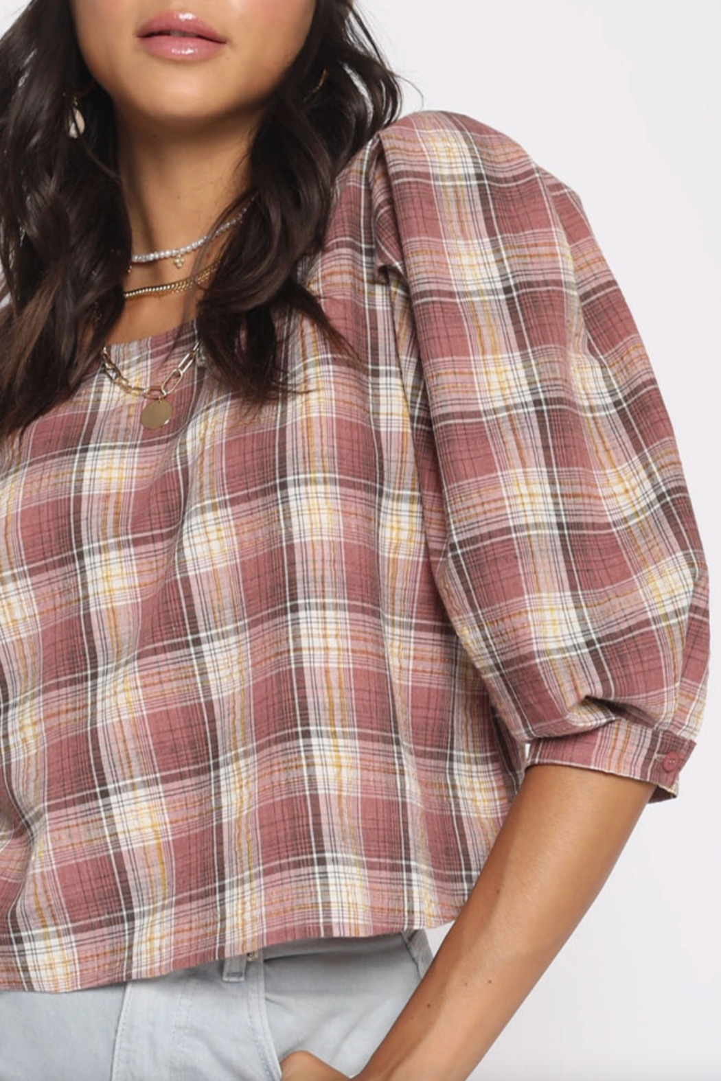San Souci Plaid Puff Top - Side Cropped Image