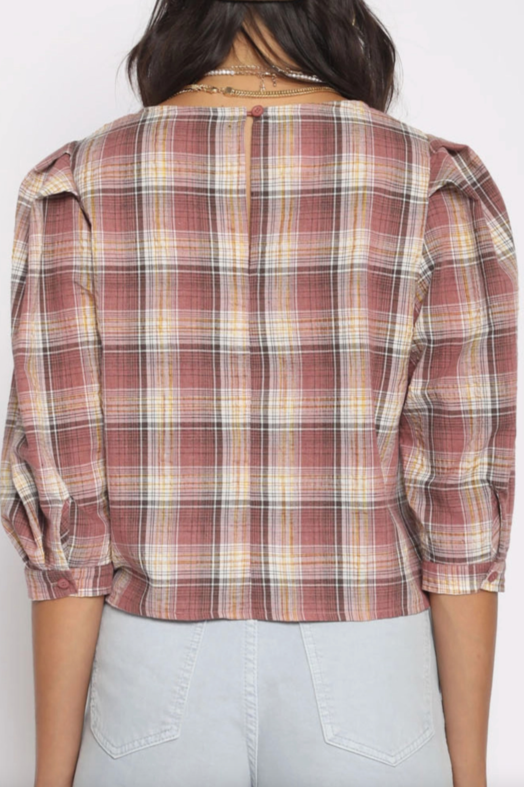 San Souci Plaid Puff Top - Front Full Image