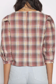 San Souci Plaid Puff Top - Front full body