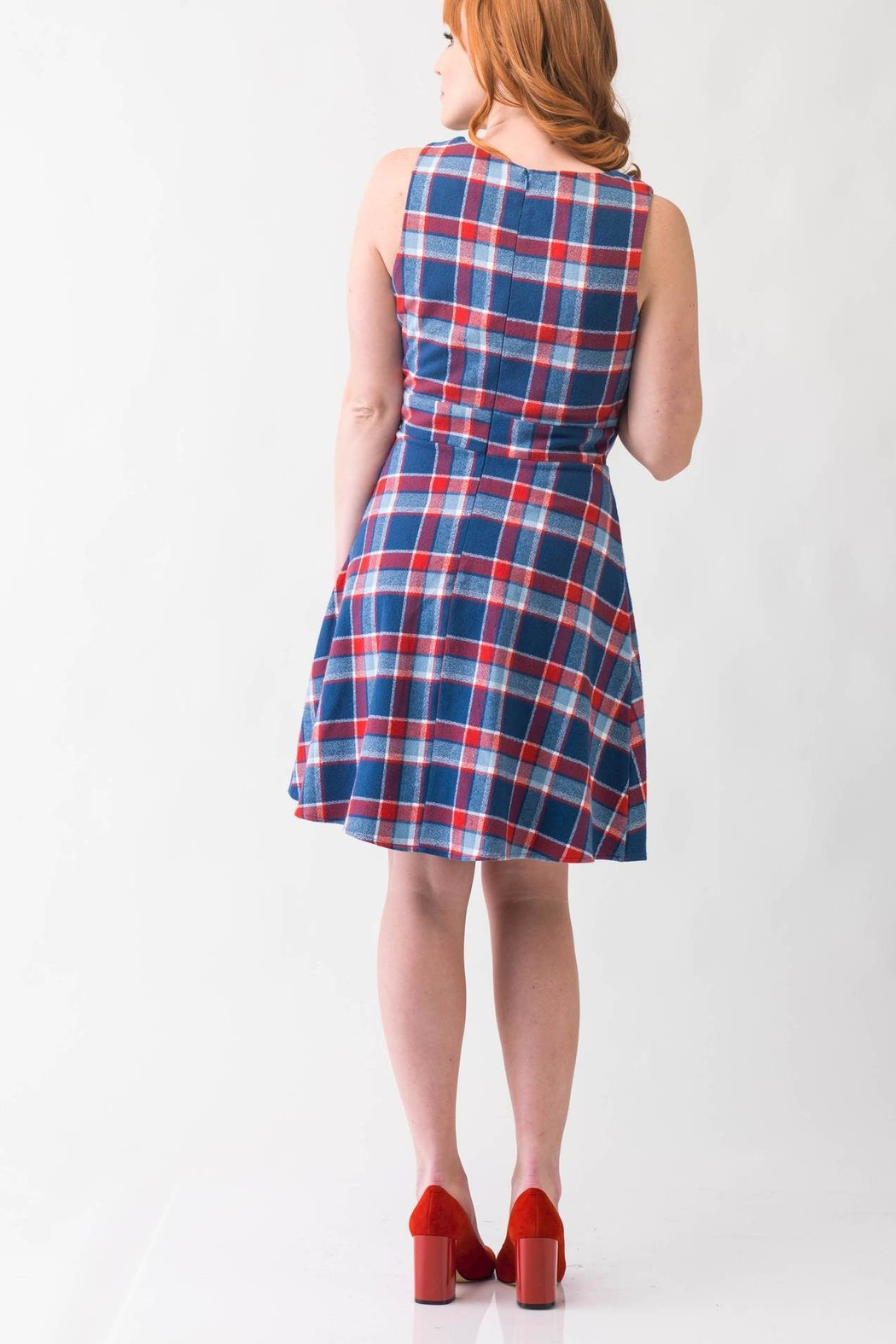Smak Parlour Plaid Retro Dress - Front Full Image