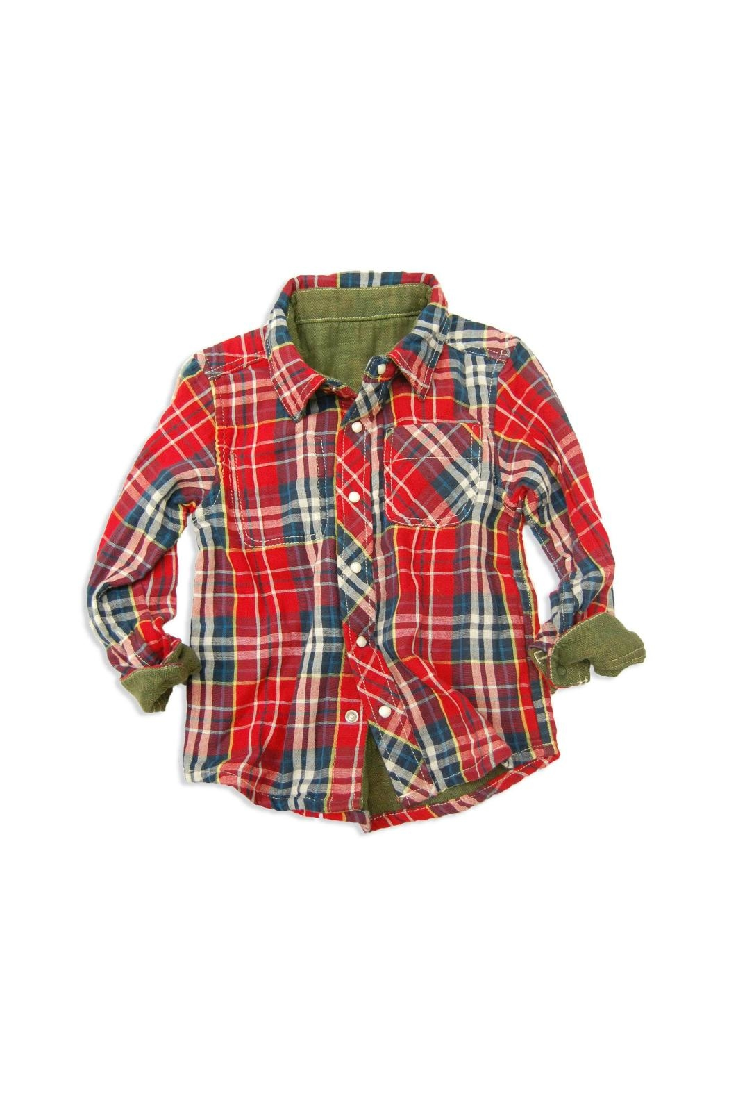 Bit'z Kids Plaid Reversible Button-Up - Front Cropped Image