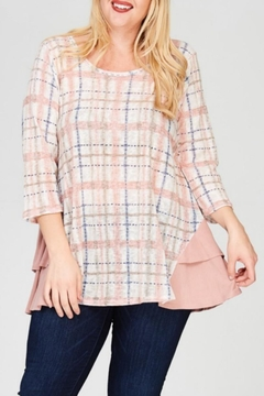 Janette Plus Plaid Ruffle Top - Product List Image
