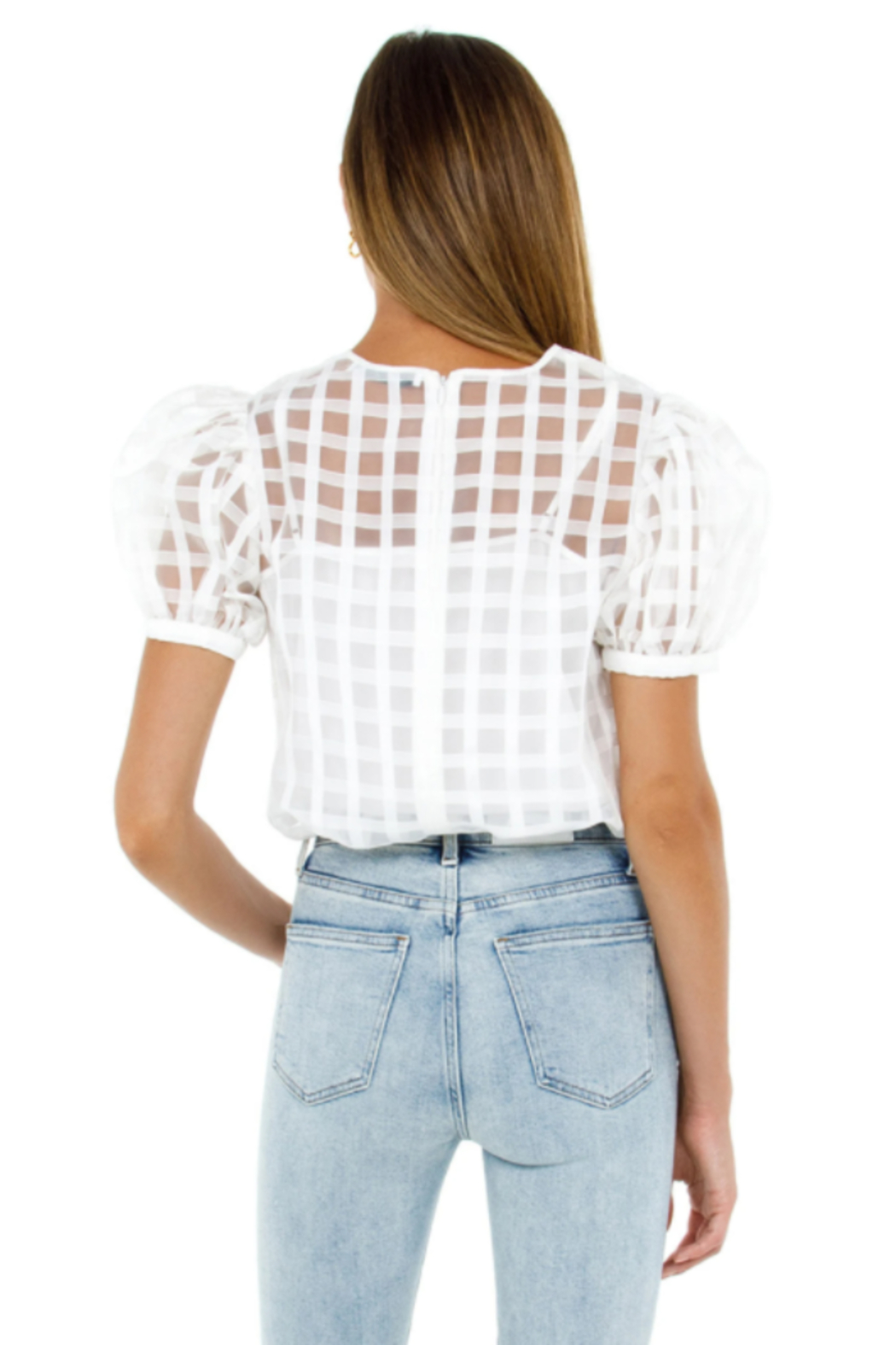 English Factory Plaid See Through Top - Side Cropped Image