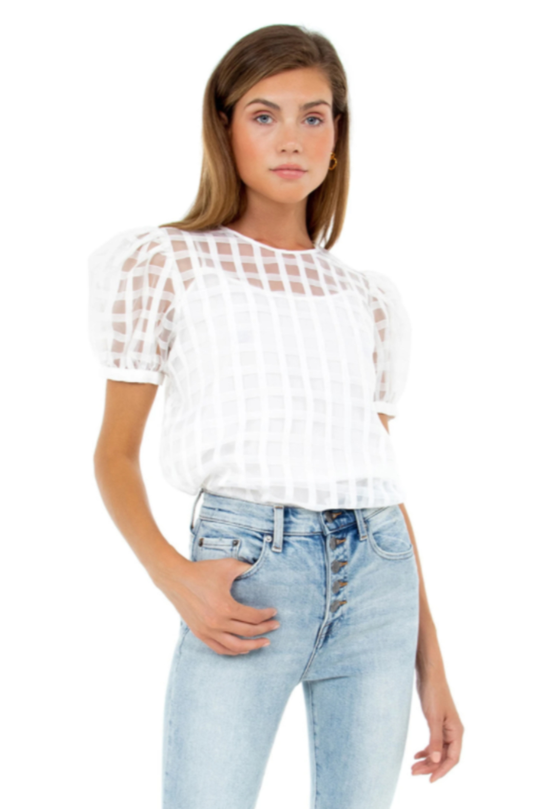 English Factory Plaid See Through Top - Main Image