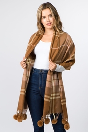 Gena Accessories Plaid Shawl with Fur Poms - Product Mini Image