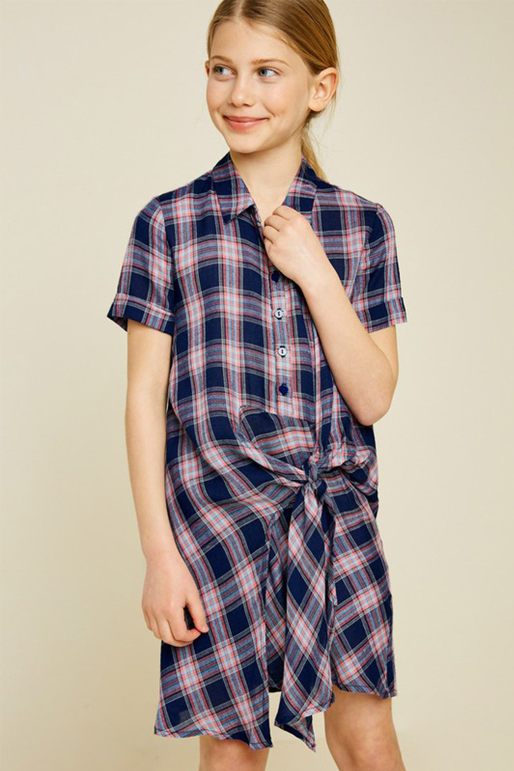Hayden Plaid Shirt Dress - Front Cropped Image