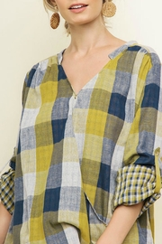 Umgee Plaid Surplice Top - Product Mini Image
