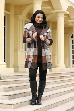 Fashion Village Orange Plaid Sweater Coat - Product List Image