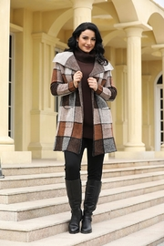 Fashion Village Orange Plaid Sweater Coat - Product Mini Image