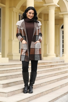 Fashion Village Orange Plaid Sweater Coat - Alternate List Image