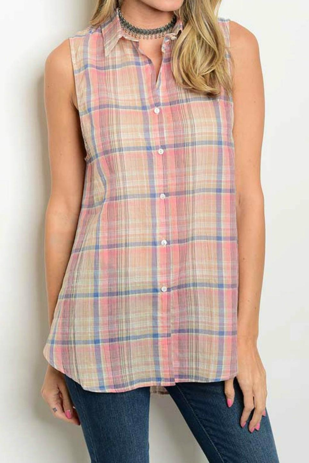 Cozy Casual Plaid Tank - Front Cropped Image