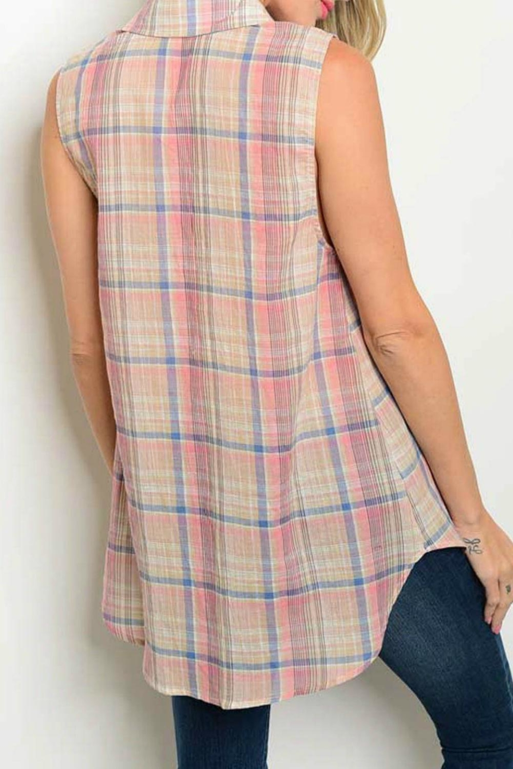 Cozy Casual Plaid Tank - Front Full Image