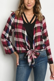 Lyn -Maree's Plaid Tie Front Cardi - Product Mini Image