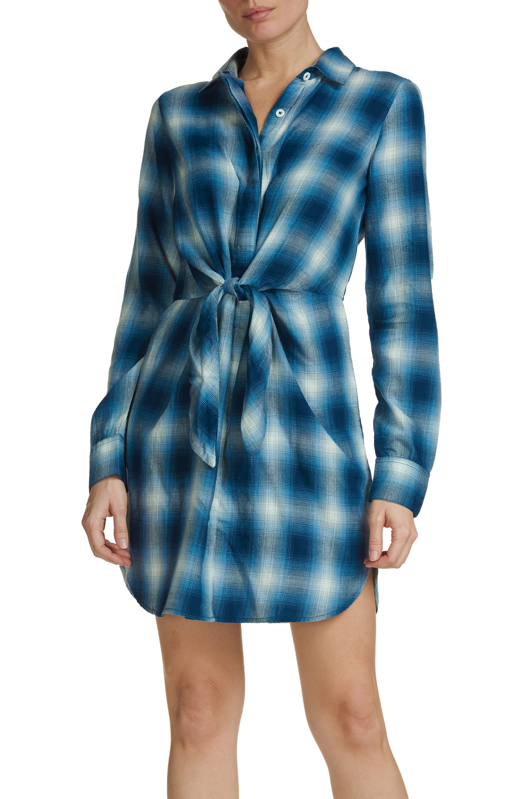 Elan Plaid Tie-Front Dress - Front Cropped Image