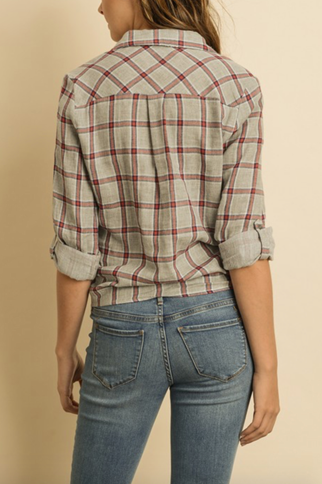 dress forum Plaid Tie Front Top - Front Full Image