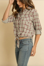 dress forum Plaid Tie Front Top - Side cropped