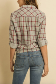dress forum Plaid Tie Front Top - Front full body