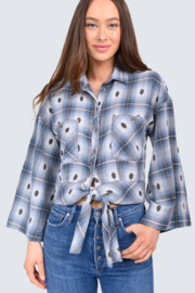 Ivy Jane Plaid Tie Shirt - Product Mini Image