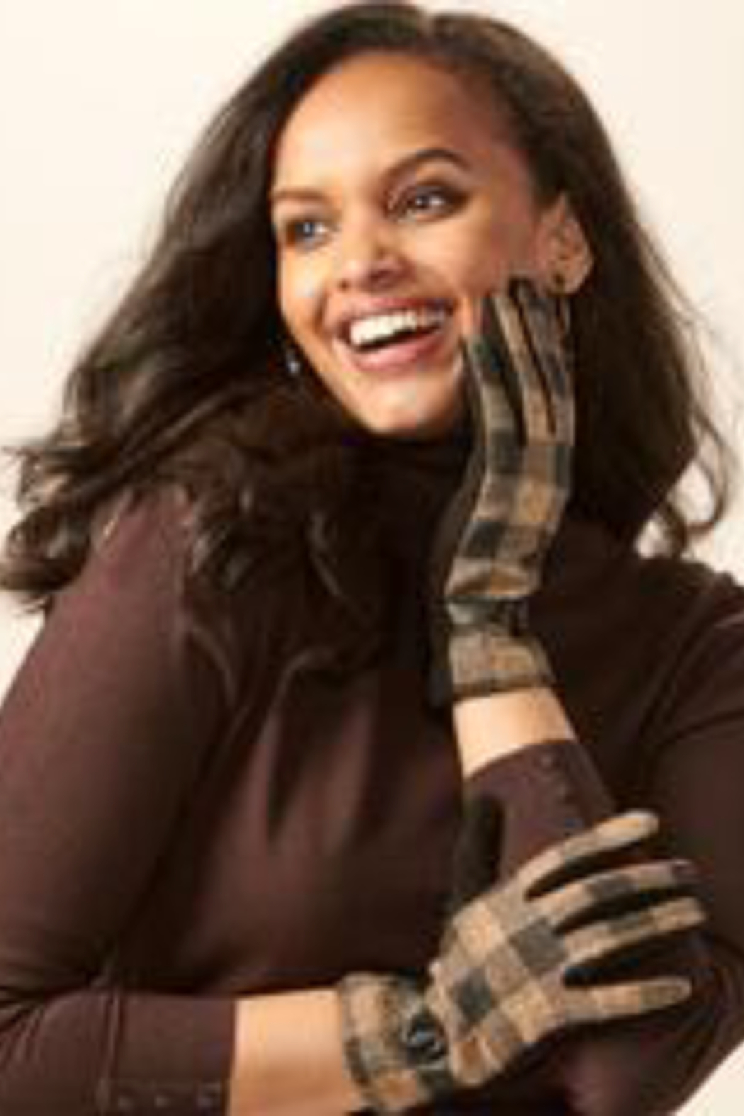 Charlie Paige Plaid touchscreen gloves - Front Cropped Image