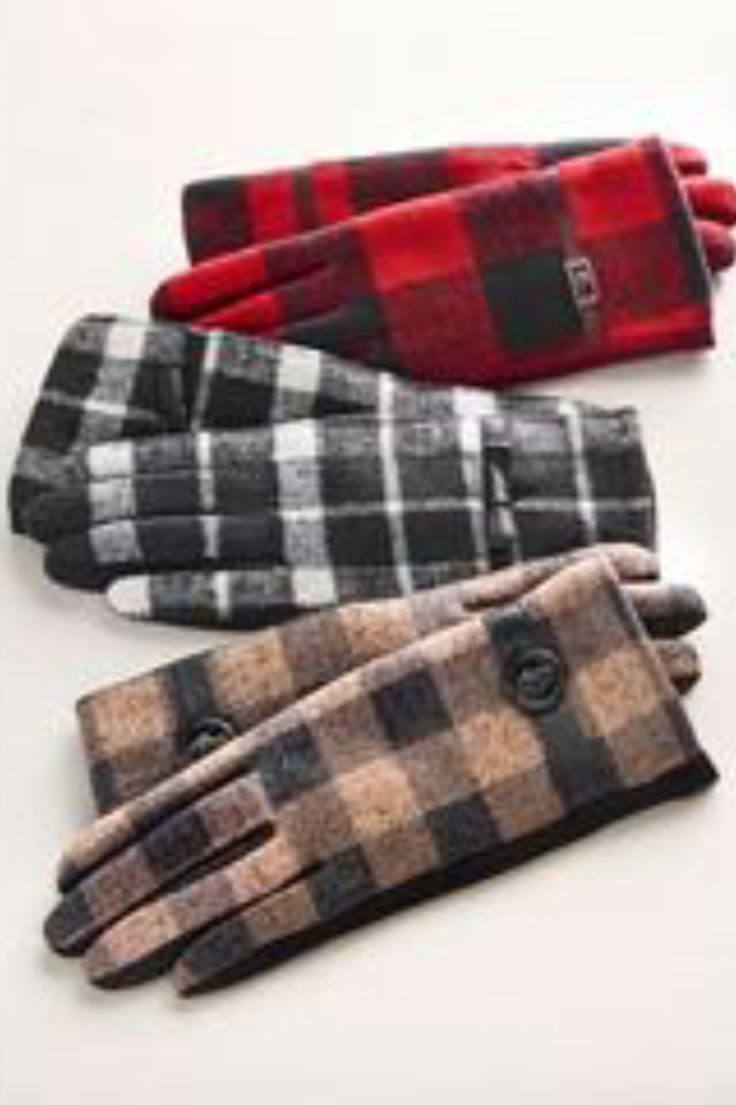 Charlie Paige Plaid touchscreen gloves - Front Full Image