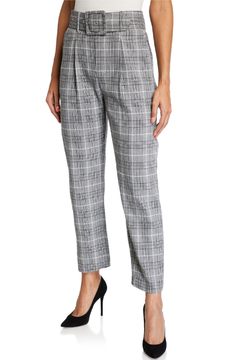 English Factory Black & White Plaid Belted Trousers - Alternate List Image