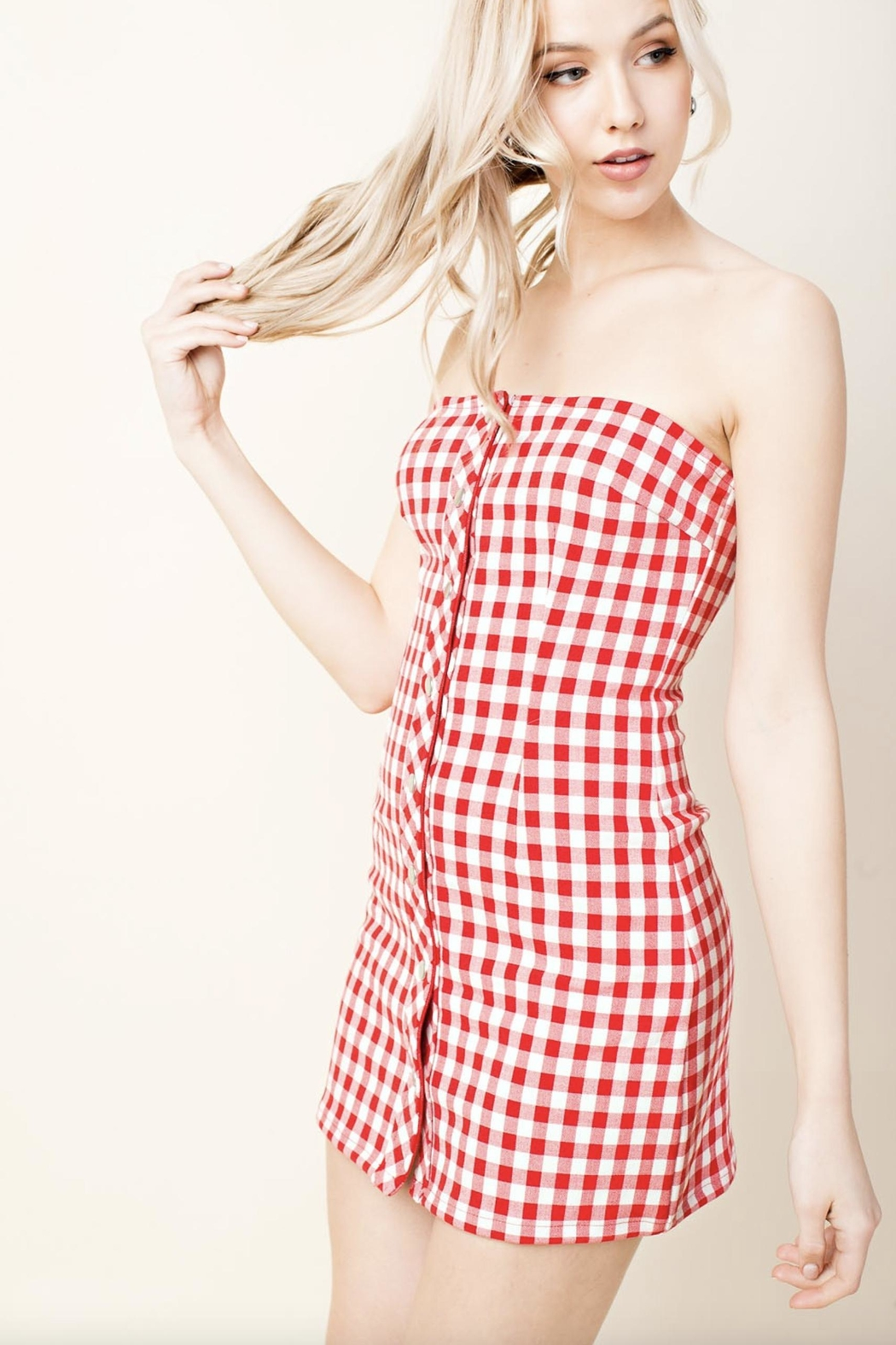 Honey Punch Plaid Tube-Top Dress - Back Cropped Image