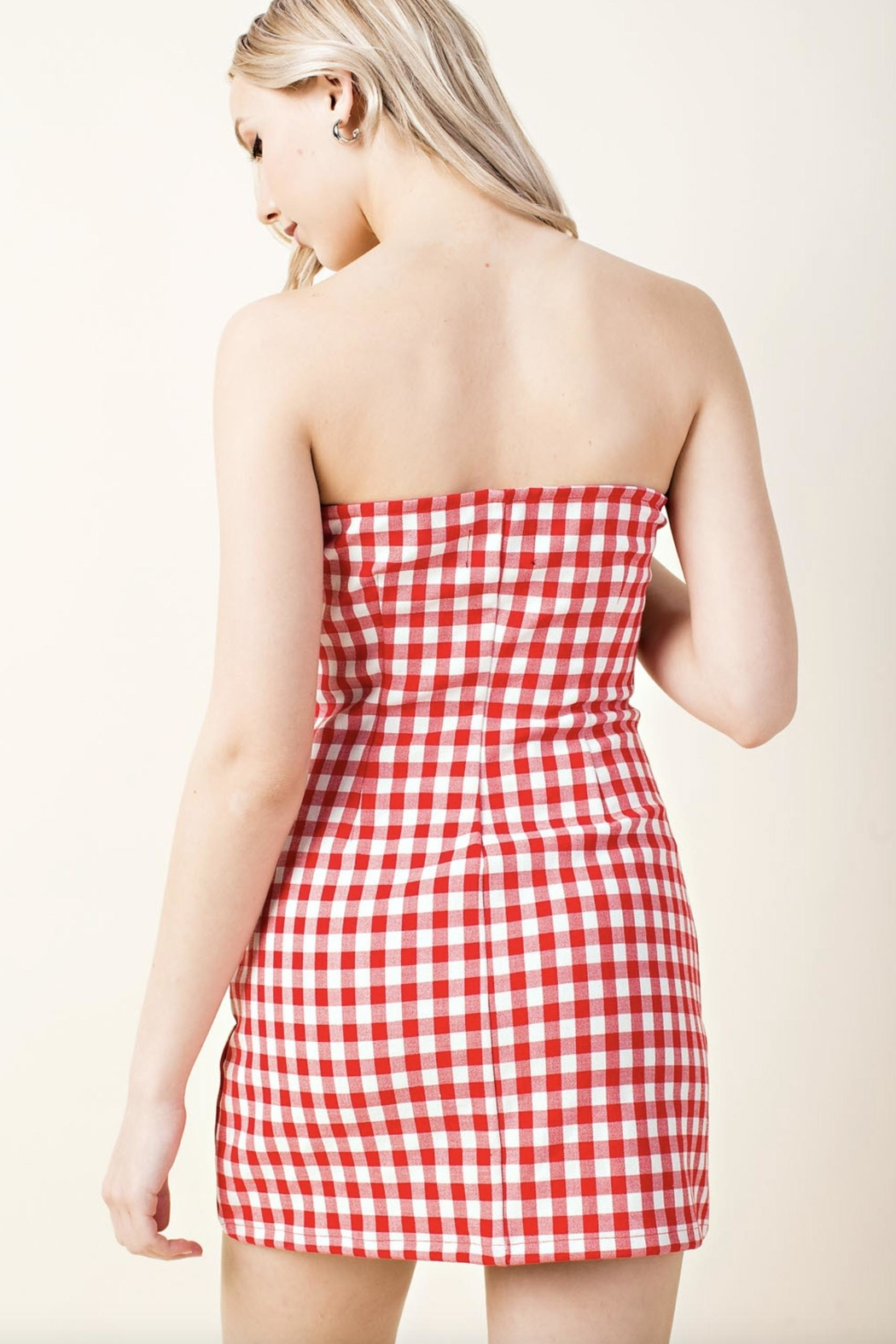 Honey Punch Plaid Tube-Top Dress - Side Cropped Image