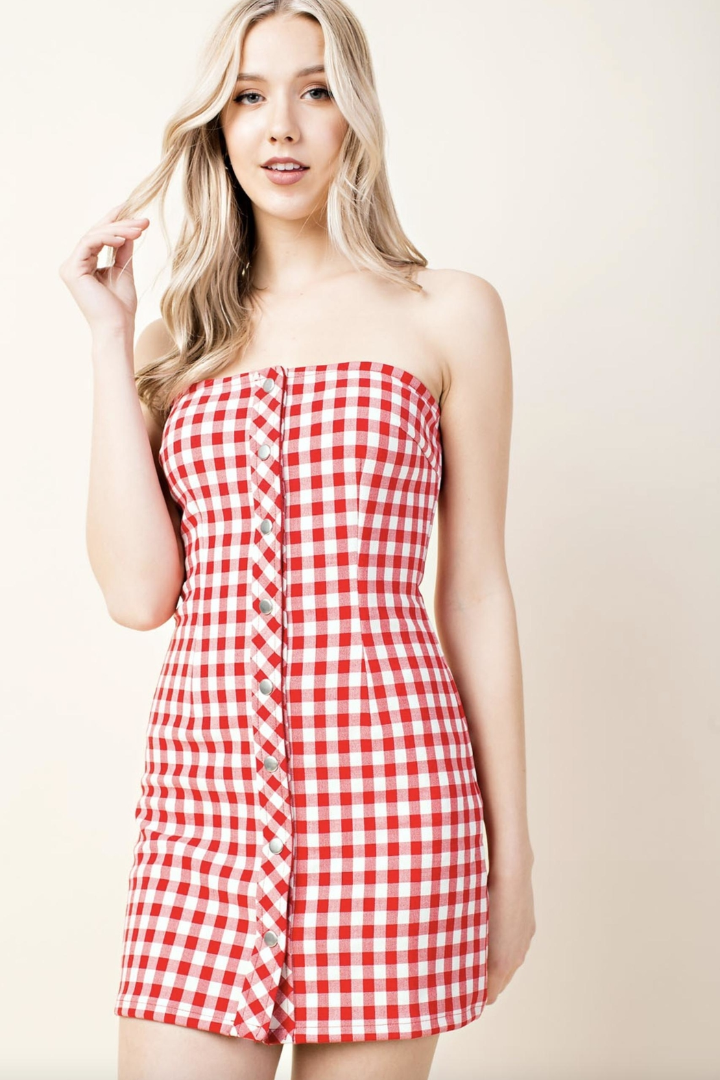 Honey Punch Plaid Tube-Top Dress - Front Cropped Image