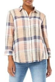 Liverpool  Plaid Tulip Button Top - Product Mini Image