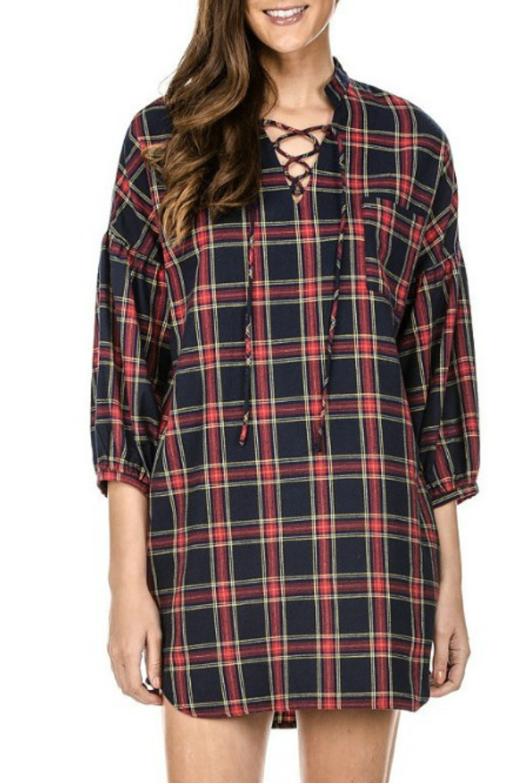 Joy Joy Plaid Tunic - Front Full Image