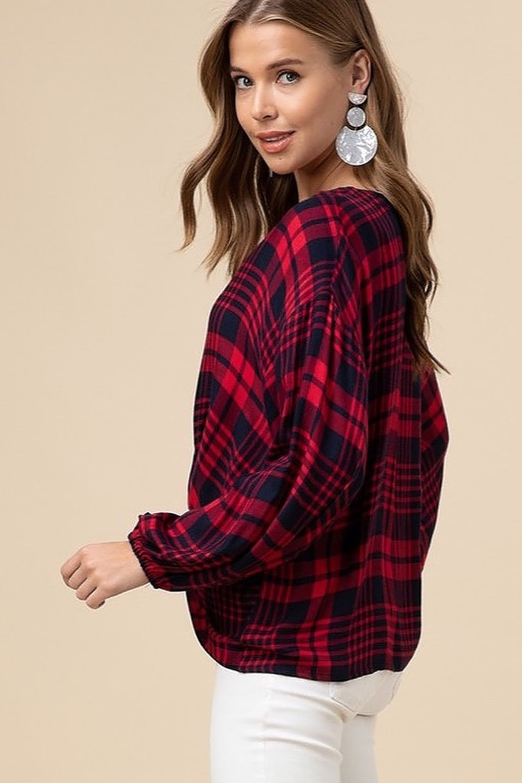 entro  Plaid twist front top - Front Full Image
