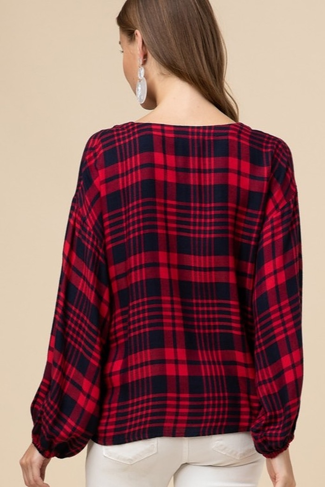 entro  Plaid twist front top - Side Cropped Image