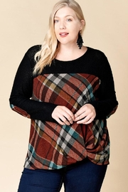 Oddi Plaid Twist-Front Top - Product Mini Image