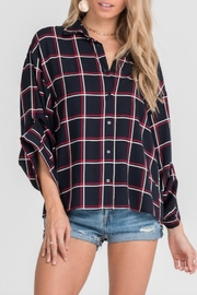 Lush Plaid Up Blouse - Front cropped