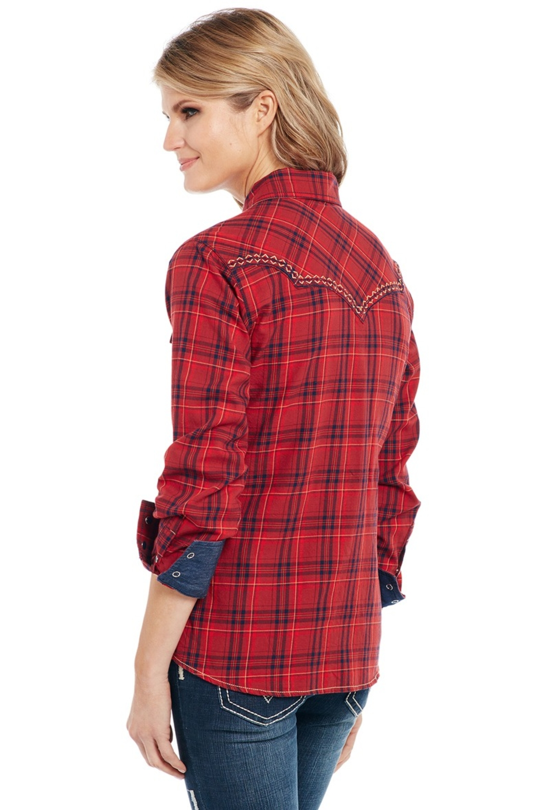 Cowgirl Up Plaid Western Shirt - Front Full Image