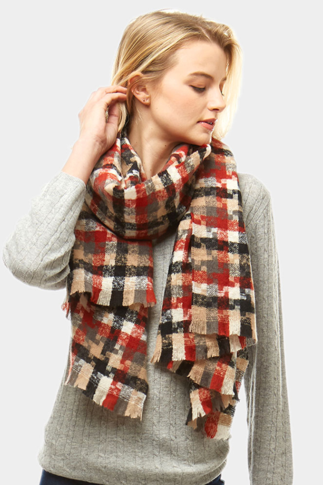 Love of Fashion Plaid Winter Scarf - Front Cropped Image