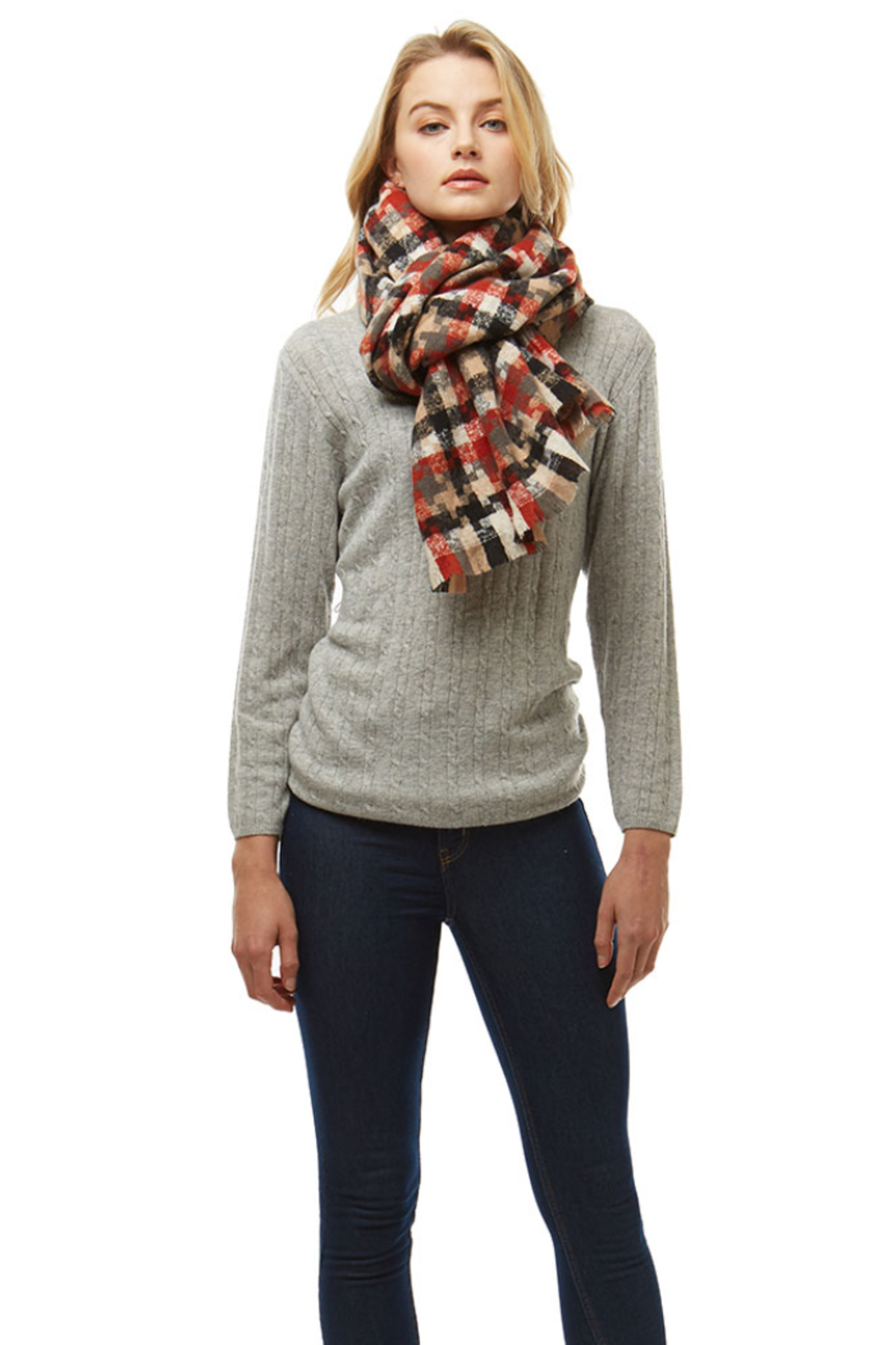 Love of Fashion Plaid Winter Scarf - Front Full Image