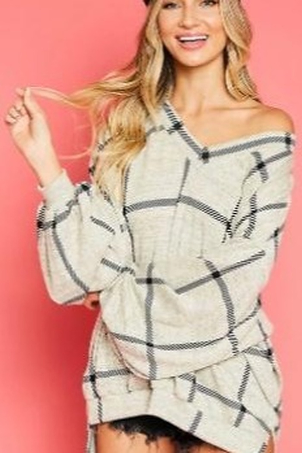 Fantastic Fawn  Plaid With Side Slit V Neck Top - Main Image