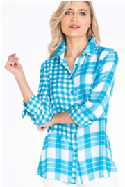 Multiples Plaid Woven Shirt- Plus - Product Mini Image