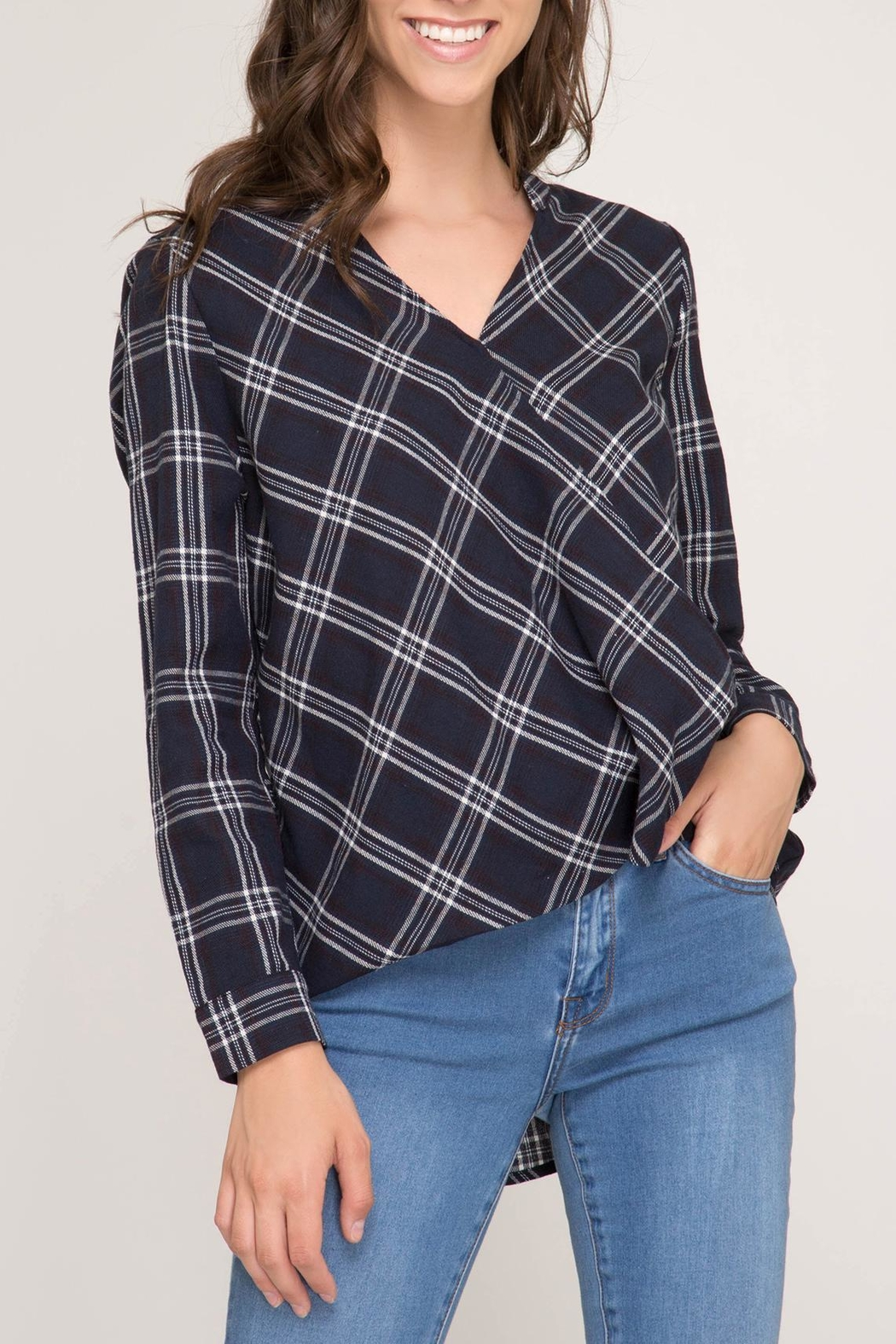 She + Sky Plaid Wrap Blouse - Front Cropped Image
