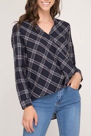 She + Sky Plaid Wrap Blouse - Front cropped