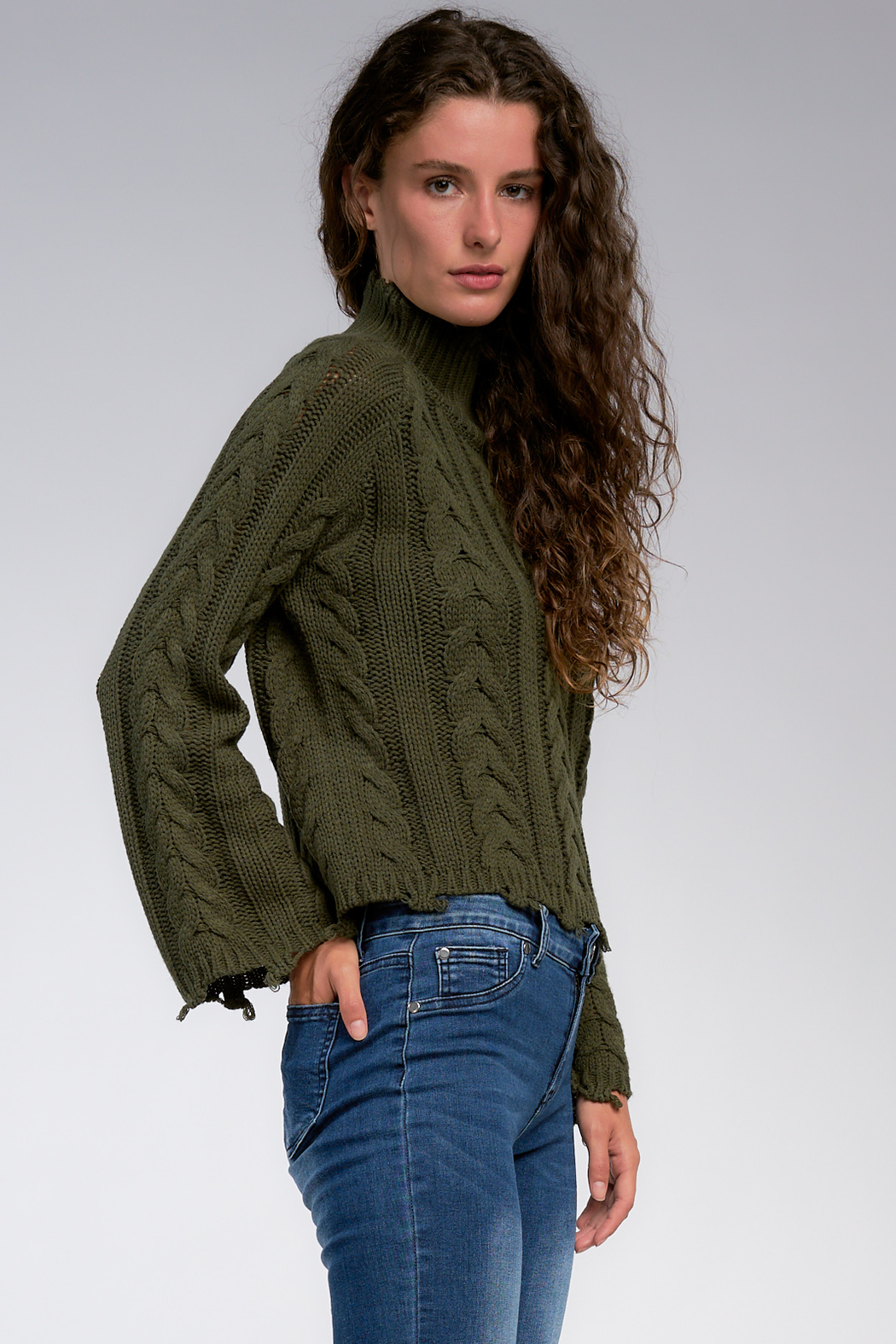 Elan Play It Cool High Neck Distressed Sweater - Front Full Image