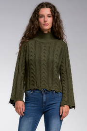 Elan Play It Cool High Neck Distressed Sweater - Product Mini Image